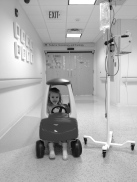 10/24 Hospital: I was always trying to get her out of her room (for both of our sakes)…so as long as she was feeling up to it, and the nurses were okay with us roaming the floor, we'd do exactly that. We borrowed this car from the regular peds side as Natalie always loved it, of course the challenge for me was always pushing her pole and scooting the car since she usually didn't have the energy to scoot it all on her own.