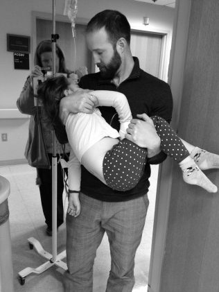 normally they wheel the kids into a recovery room (after their spinals), but Danny wanted to carry Natalie as he never gets to go to these appointments b/c of work.