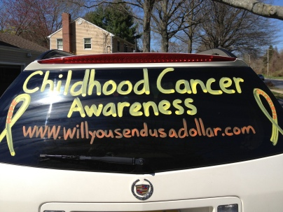 I did this to both mine and Dan's car last September for childhood cancer awareness month (oh and to my parents car)…so this year I thought, why wait until September. So many people stop me when they see the car so it's great exposure. In fact just yesterday (4/23), two women stopped me in the parking lot of the grocery store. One gave me (right there and then) a bag of kids toys that I could use either for a fundraiser or to give to the kids at Hackensack. The other woman was from a local news station and now she and her crew will be coming to one of our fundraisers that is happening tomorrow!