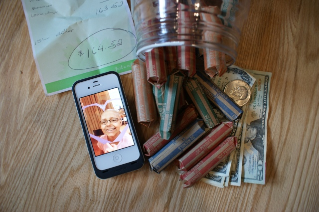 This photo is actually from our fundraiser last year.  This bank was donated by Julianna and her family, and the inset photo is of Julianna while she was stuck in the PICU.  I wanted to include this photo since at least $20,000 of this $164K raised was donated in her honor by hundreds of amazing people in Julianna's community!